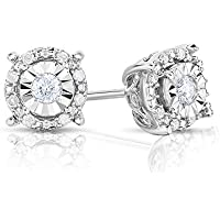 Sterling Silver Ornate Design Round White Diamond Stud Earrings