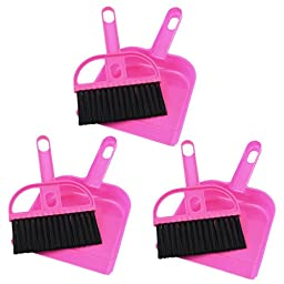 uxcell Keyboard Air Outlet Vent Cleaner Brush Dustpan 3 Sets Fuchsia