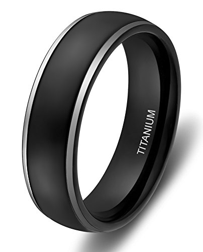6mm Titanium Rings for Men Women Black Dome Two Tone Polish Wedding Band (size 8.5)
