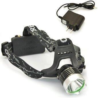 Windfire® New Outdoor Super Bright Cree Xm-L Xml T6 U2 Led 1800 Lm Headlamp Rechargeable Headlight + Ac Charger & 2X Windfire 4000Mah 18650 Rechargeable Batteries (Black And Silver)
