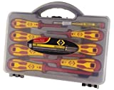 CK DEXTRO 1000V VDE INSULATED 8pc POZI & SLOTTED SCREWDRIVER SET & MAINSTESTER