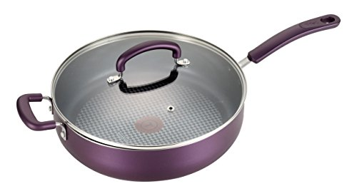 T-fal B13182 Color Luxe Hard Titanium Nonstick Thermo-Spot Dishwasher Safe PFOA Free Saute Pan Jumbo Cooker Cookware, 5-Quart, Purple