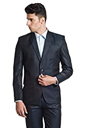 Wintage Men's Poly Viscose Two Buttoned Notch Lapel Festive and Casual Navy Blazer