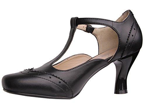 Vijiv Women's Teardrop Cut Out T-Strap Mid Heel Dress Pumps 1
