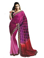 Faux Georgette Saree In Purple Colour For Casual Wear - B00VGHH0PO