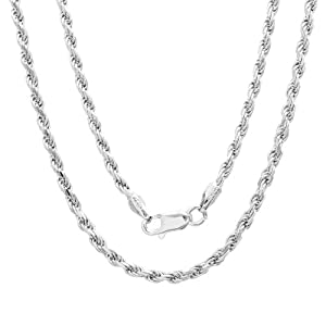 Sterling Silver Diamond-Cut Rope Chain (2.5mm)
