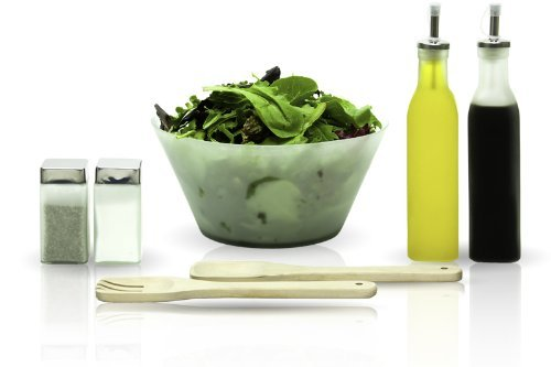 7 Pcs Frosted Glass Salad Bowls Set With Servers - With Oil And Vinegar Cruet (7pc Glass Salad Bowl Set compare prices)
