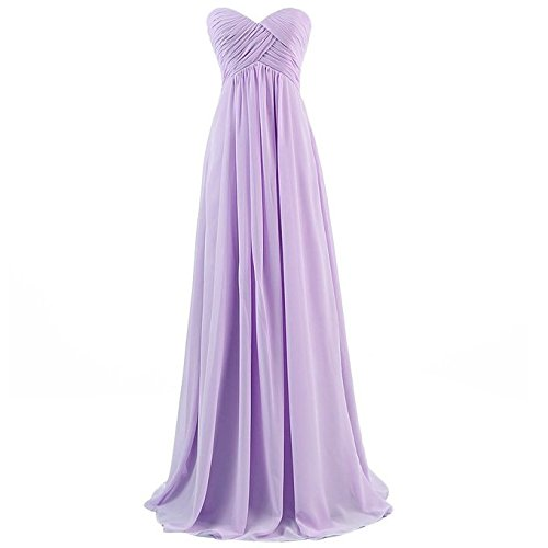 Ouman Sweetheart Bridesmaid Chiffon Prom Dress Long Evening Gown Lavender M