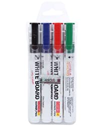 Camlin PB White Board Marker - Pack of 4 Assorted Colors (Black, Blue, Red, Green)