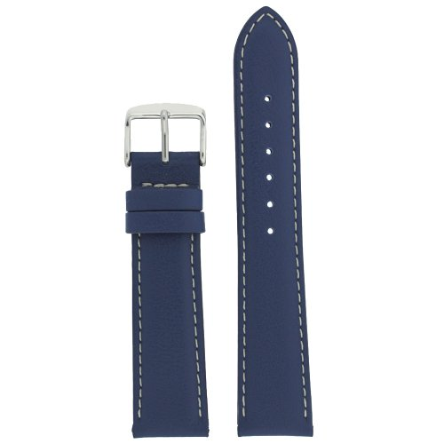 Watch Band Genuine Soft Leather Navy Blue Padded Stitched 26 Millimeter