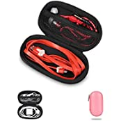 BUBM Multifcnction Headphone Storage Box Travel Carrying Case Little Things Organizer Oval Black Red Oval Oval