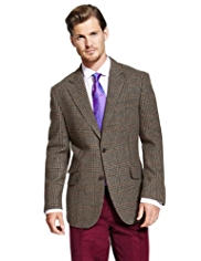 Big & Tall Sartorial Luxury Pure New Wool 2 Button Multi-Checked Jacket