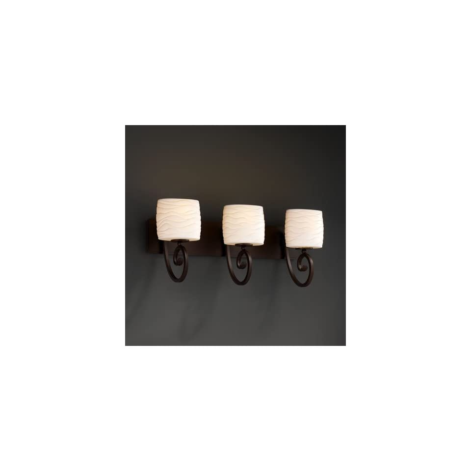 Justice Design Group POR 8573 30 WAVE DBRZ Limoges 3 Light Bathroom Lights in Dark Bronze