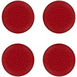 4 x Assecure red TPU protective analogue thumb grip stick caps for Sony PS4 controllers [Playstation 4]
