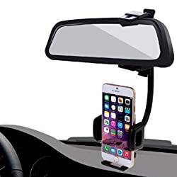 HAWEEL® 2 in 1 Universal Car Rear View Mirror Stand Mobile Phone Mount Holder for iPhone 6 / iPhone 5 & 5S & 5C / Smartphone, Clamp Size: 40mm-80mm(Black)