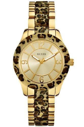 Guess Ladies Gold Tone Leopard Print Watch W0014L2