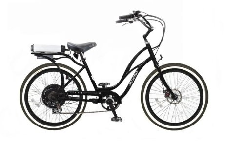 Pedego Black Step Thru Comfort Cruiser Electric Bike with Black Rims Whitewall Tires