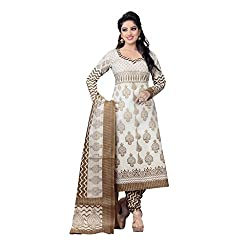 Giftsnfriends Womens Cotton Unstitched Salwar Suit Dress Material (Gssgwedm710 _White _Free Size)