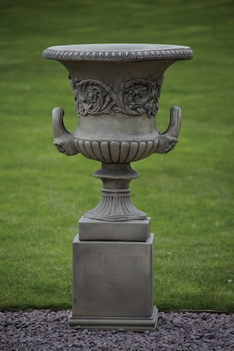 Large Garden Planters - Pair of Grecian Stone Urns on Plinths