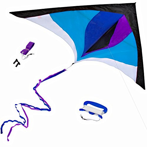 "Finest Delta Kite for Kids & Adults by Stuff Kids Love - Easy Fly - Huge (60"") with Long (8.5') Tail Ribbons - Superb Flyer - Vivid Colors - Best Quality Materials - Stunning Design"