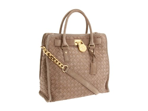 Michael Kors Hamilton Woven Large North/South Tote Khaki Suede