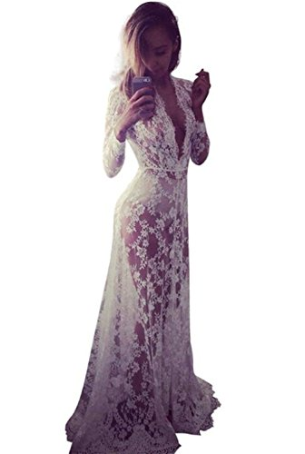 Yomoko Sexy Deep V-Neck Long Sleeve Lace Beach Dress See-through Long Dress (Large)