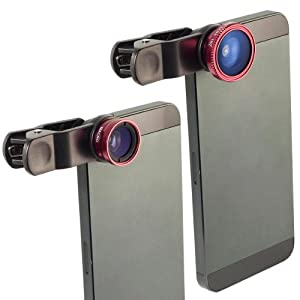 Kit Objectif fish-eye à 180° + Objectif grand angle + Objectif Micro pour iPhone 4 4S 4G 5 5G DC264R