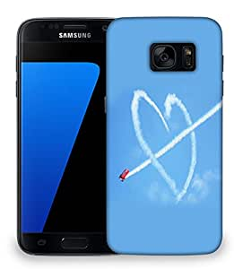 Snoogg Airplane Fly Heart Designer Protective Phone Back Case Cover For Samsung Galaxy S7