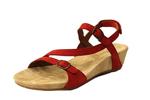 BENVADO Jil sandalo listini incrociati pelle (4 UK, Paprika)