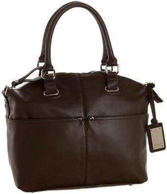 Tignanello Polished Pockets Convertible Satchel,Dark Brown,one size