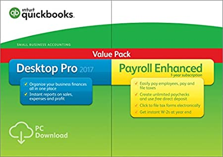 QuickBooks Desktop Pro 2017 with Enhanced Payroll Small Business Accounting Software [PC Download]