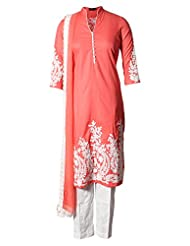 Azra Jamil Fine Cotton Peach Dori Embroidered Traditional Churidar Suit For Women