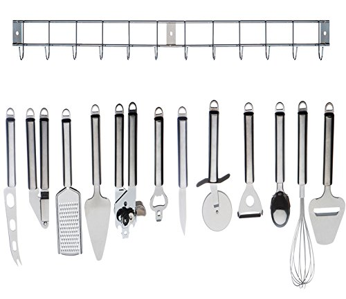 Complete Cooking Set: 12pc Stainless Steel Kitchen Utensil / Kitchen Gadget Tool Set with Hanging Bar
