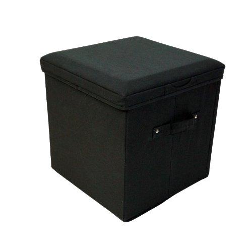 Seat Pad Folding Storage Ottoman. Canvas cover - Black