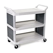 "Rubbermaid Commercial 4092 HDPE Service Cart with End Panels, 3 Shelves, Off White, 300 lbs Load Capacity, 37-13/16"" Height, 40-5/8"" Length x 20"" Width"