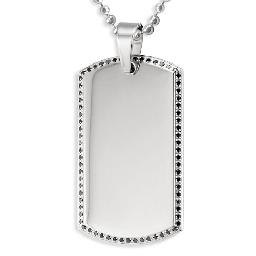 Stainless Steel Men's Dog Tag with Black Pave Set CZs on a 24 Inch Chain