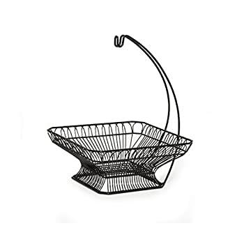 Gourmet Basics by Mikasa French Countryside Fruit Basket with Banana Hanger, Antique Black