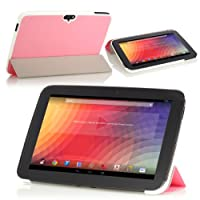 MoKo Ultra Slim Lightweight Smart-shell Stand Case For Google Nexus 10 Inch Tablet By Samsung PINK (with Smart...