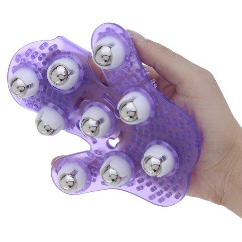 Purple 360° Rolling 9 Balls Manual Body Care Legs Beautifying Massage Glove front-522289