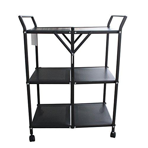 homycasa metal 3 tier folding serving cart on wheels business industrial food service food. Black Bedroom Furniture Sets. Home Design Ideas