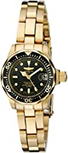 Invicta Pro Diver Women's Quartz Watch with Black Dial Analogue Display and Stainless Steel Gold Plated Bracelet in Gold Tone Stainless Steel Case 8943