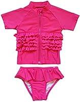 "SwimZip Little Girl ""Ruffle Me Pretty"" Rash Guard Swimsuit Set"