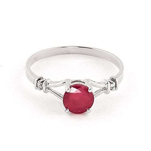 QP Jewellers Natural Diamond & Ruby Ring in 9ct White Gold, 1.0ct Round Cut - 2083W