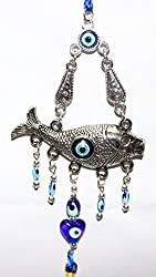 Odishabazaar Blue Evil Eye with Fish Hanging Ornament for Protection