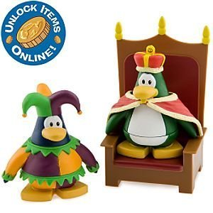 Disney Club Penguin Series 6 Mix 'N Match Mini Figure Pack Court Jester & King Includes Coin with Code!