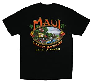 Maui Harley-Davidson Men's Lahaina Black T-Shirt (Large)