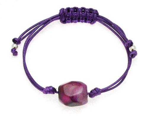Purple Thread Multi Strand Knotted Bangle Type Adjustable Bracelet with Purple Agate