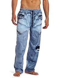 MJC International Men\'s Generic Faux Denim Pajama Pant, Blue, Medium