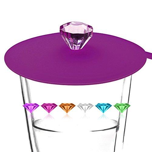 4.334.33'' Food Grade Silicone Cup Lids, IPHOX Creative Diamond Mug Cover [Set of 6] Anti-dust, Airtight Seal, Silicone Drink Cup Lids, Hot Cup Lids