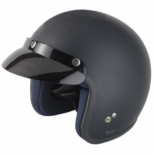 Vcan V500 Open Face Motorcycle Helmet M Matt Black